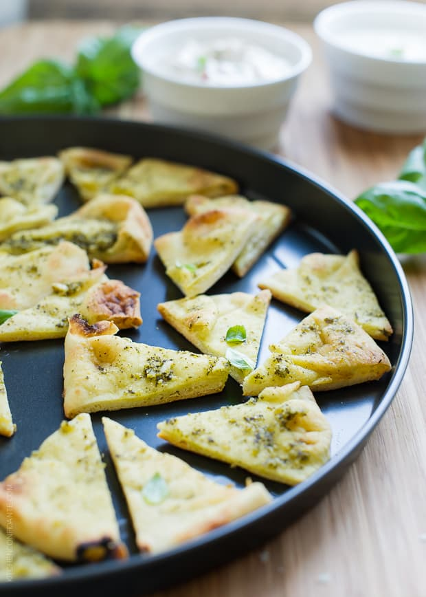 Pesto Baked Naan Chips | www.kitchenconfidante.com | Oven baked chips are so easy to make!