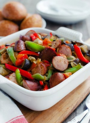 Greek-Style Sausage and Peppers | www.kitchenconfidante.com | Spetzofai is a simple dish of Greek sausage and peppers, simmered in a zesty tomato-based sauce. Your family will love it!