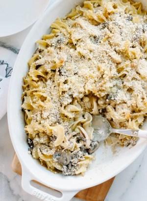 Chicken Mushroom and Corn Tetrazzini | www.kitchenconfidante.com | Use roast chicken in this creamy casserole.