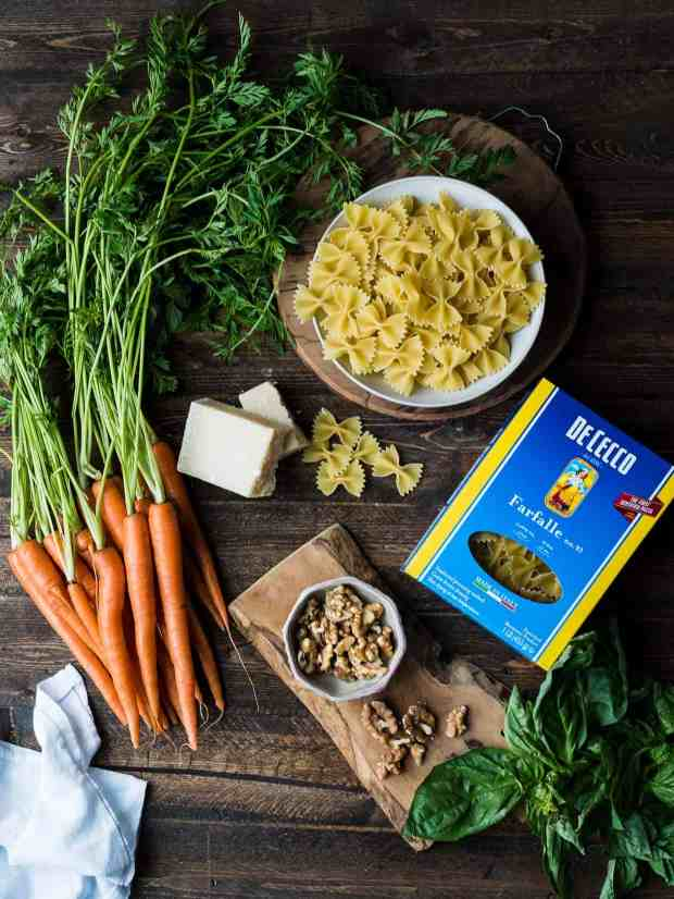 Farfalle with Roasted Carrot Pesto, Parmesan and Toasted Walnuts comes together in just minutes with your favorite pasta by De Cecco.