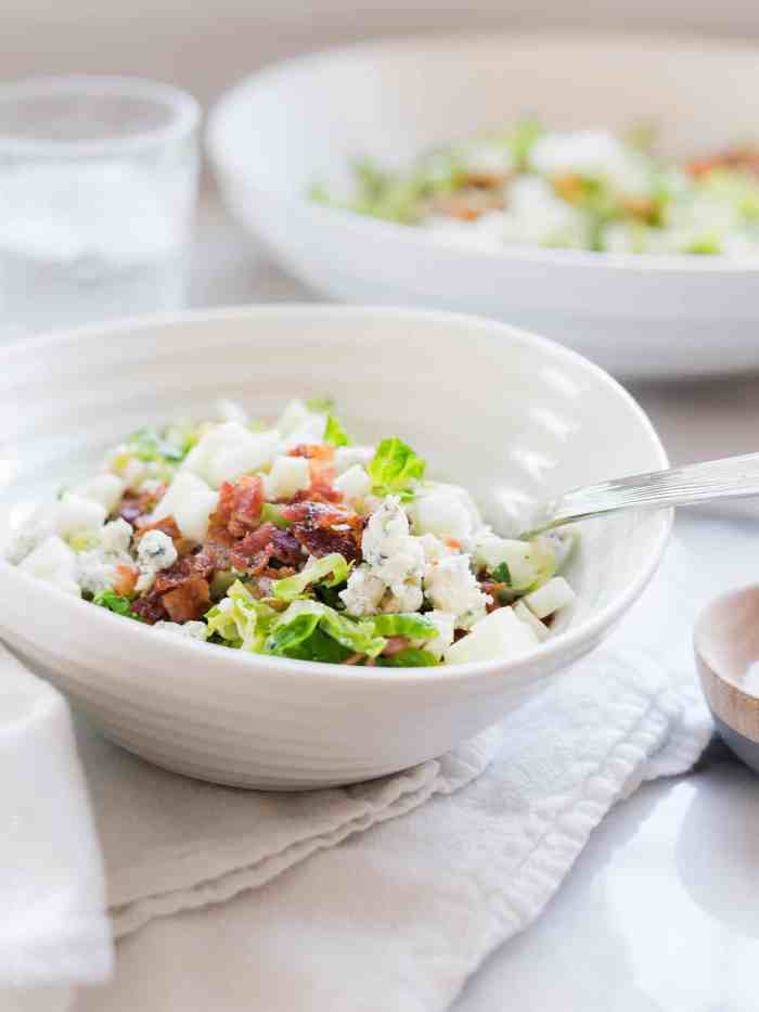 Shredded Brussels Sprouts Salad with Bacon, Apple and Gorgonzola hits all the flavors you crave: salty, tangy, smokey and delicious.