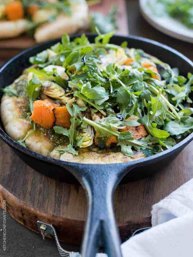 Skillet Pesto Flatbread with Goat Cheese, Artichokes and Roasted Butternut Squash - an easy flatbread you can make on the stove top!