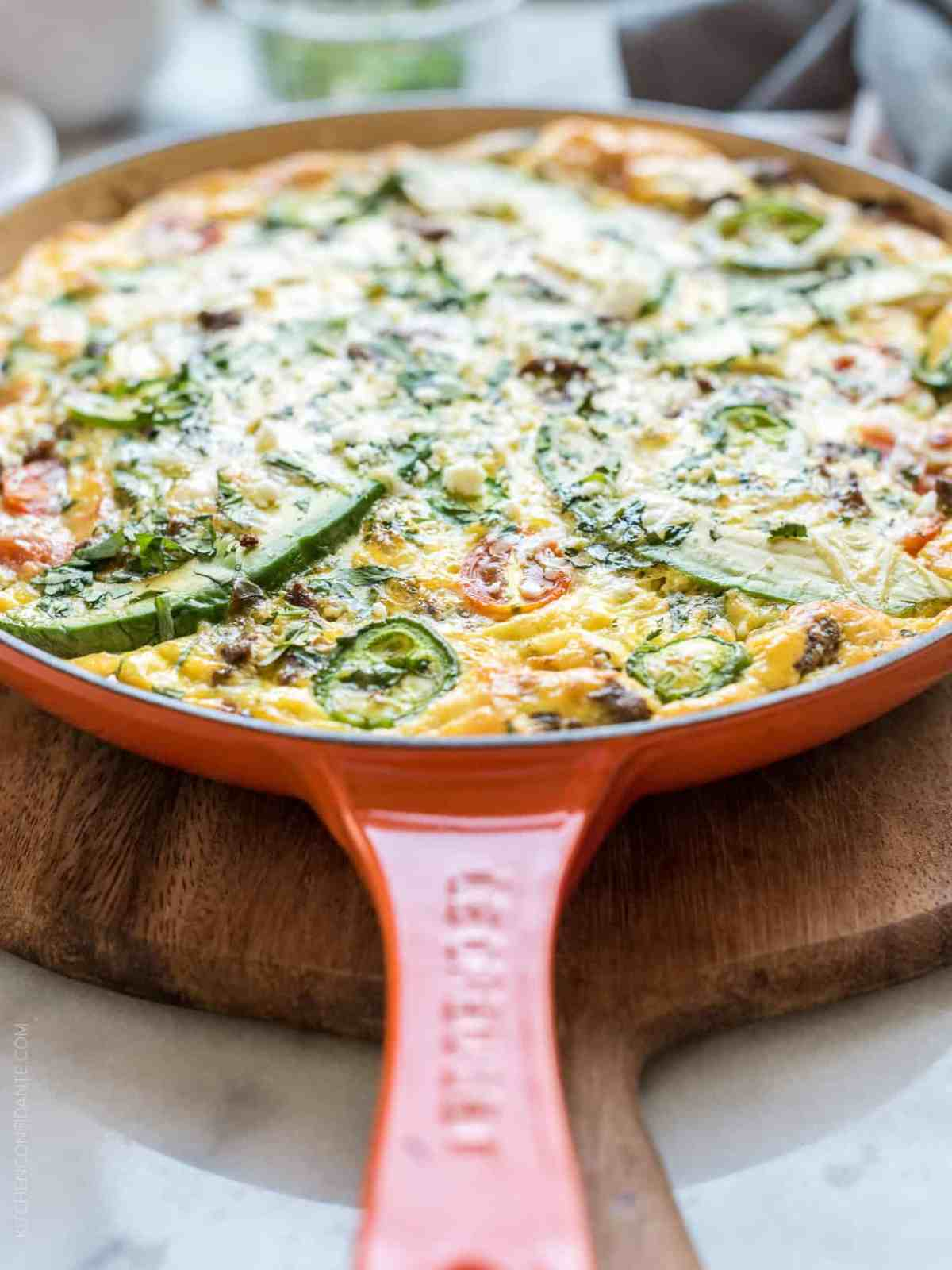 Taco Frittata baked in a skillet.