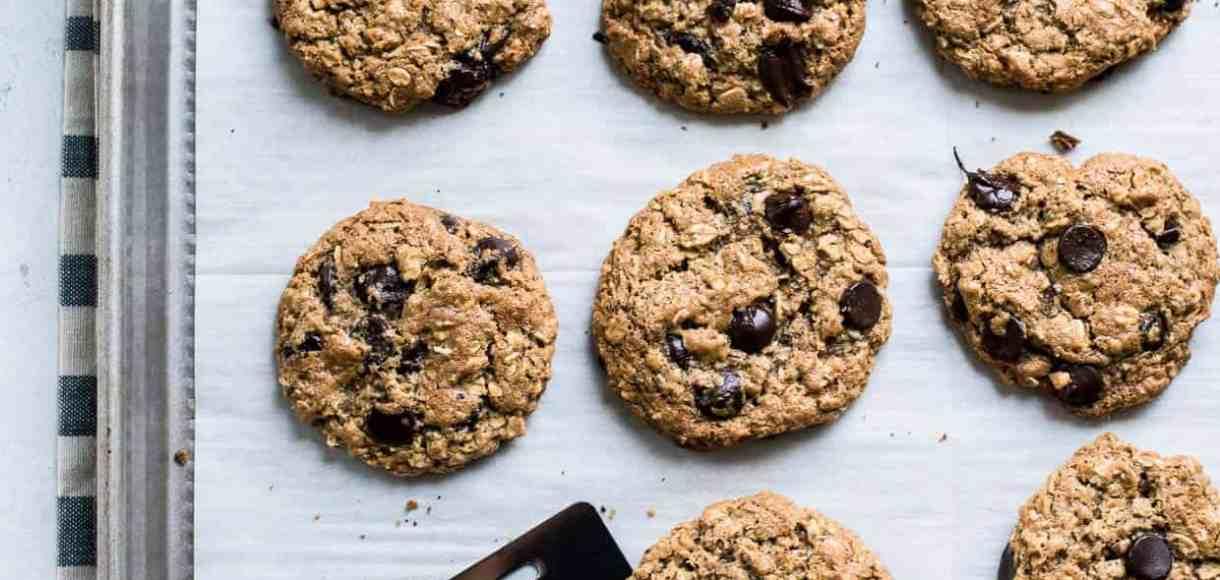 Almond Butter Oatmeal Cookies on a baking sheet.
