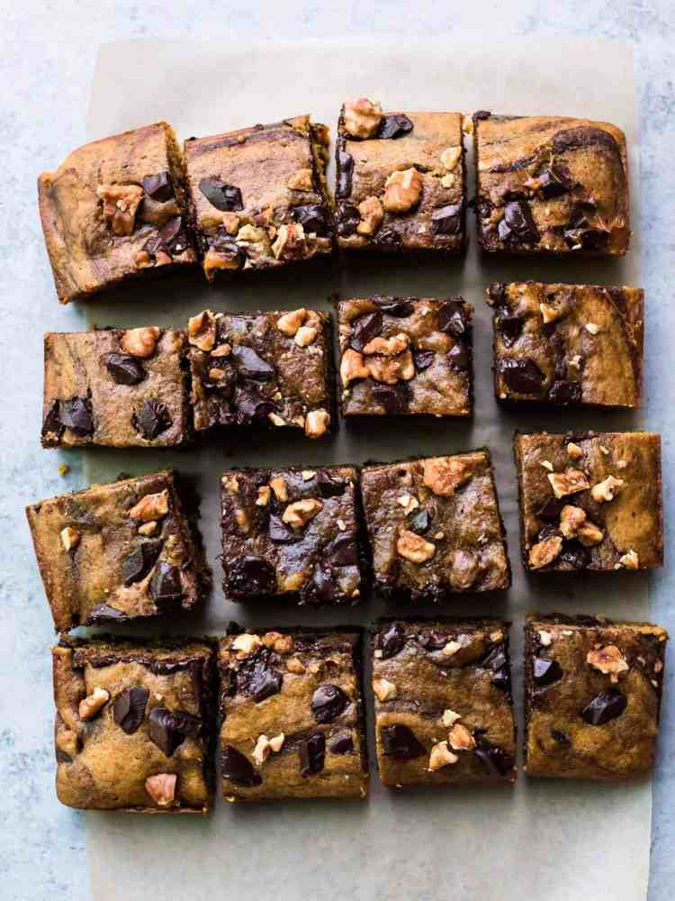 Brown Butter Pumpkin Blondies cut into 16 bars.