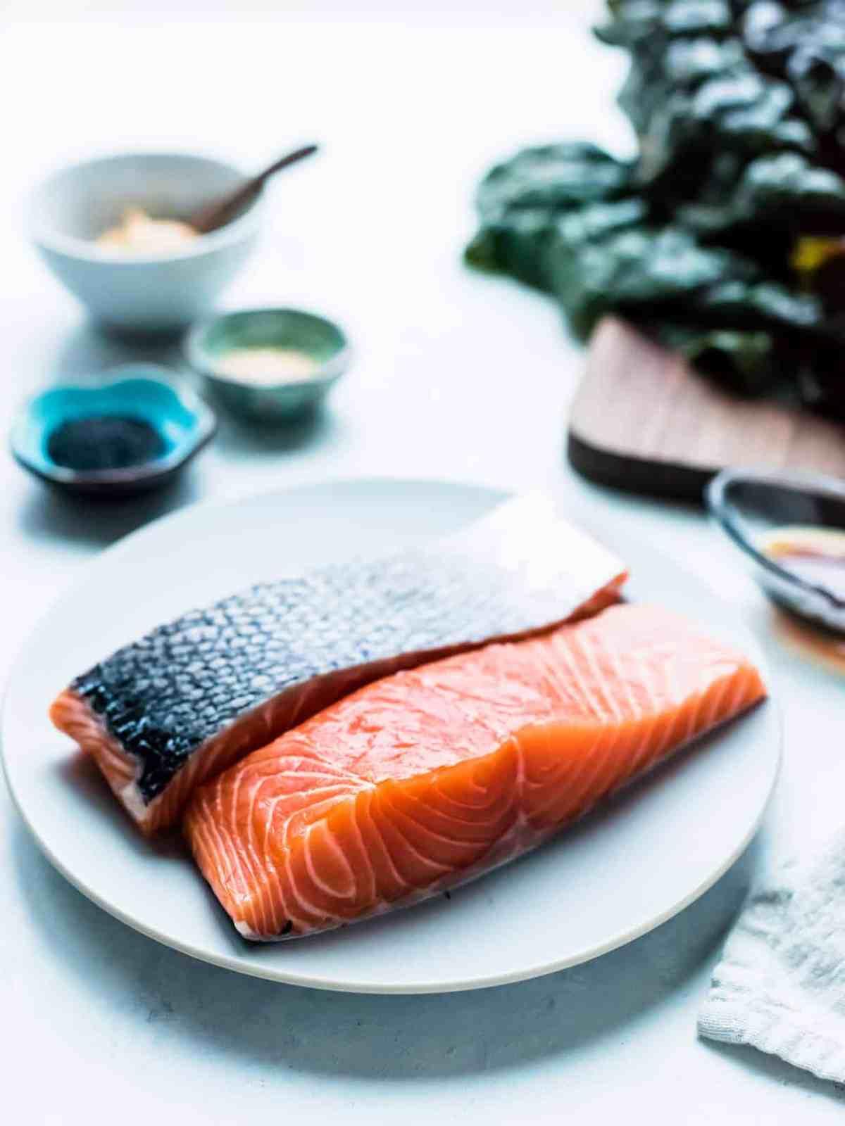 Raw salmon ready to sear for Miso Maple Glazed Salmon.