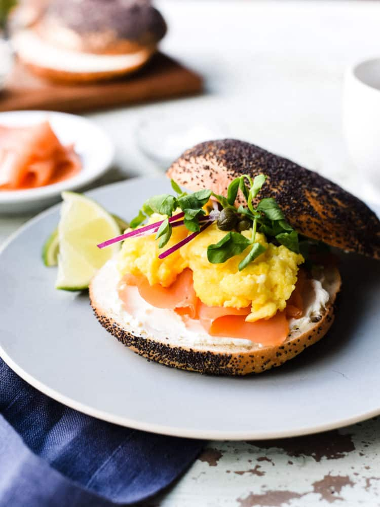 Scottish Smoked Salmon Bagel with Scrambled Eggs is the ultimate bagel with lox!