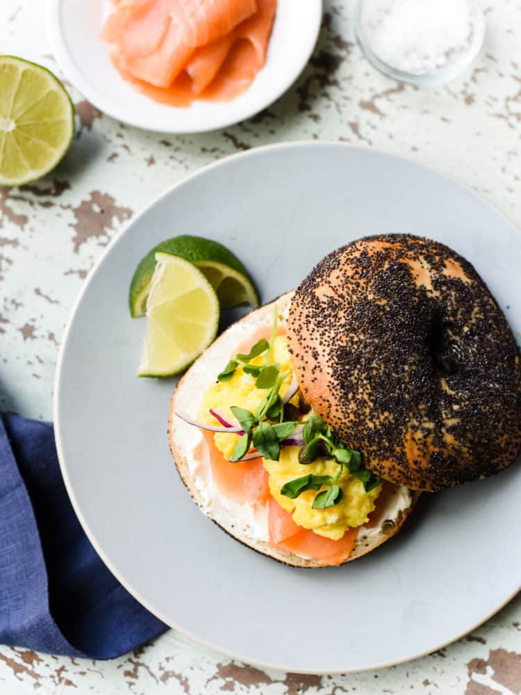Just a few small details make this the best Scottish Smoked Salmon Bagel with Scrambled Eggs.