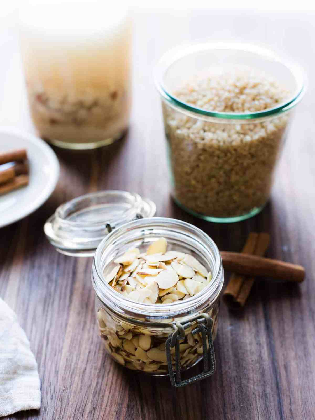 Ingredients for this homemade horchata include almonds, brown rice, cinnamon, water, and milk.
