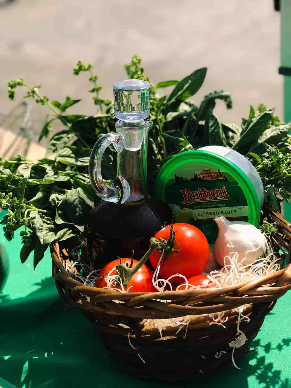 Close up of Buitoni ingredients and fresh tomatoes at the Farmer's Market at Ferry Building.
