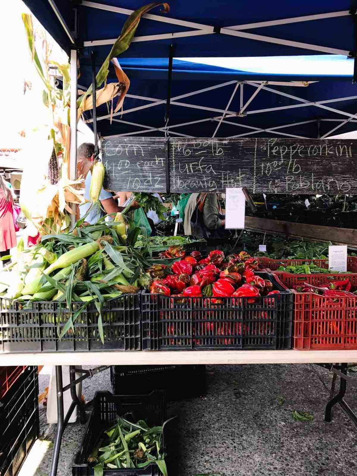 Fresh corn and more veggies at the Farmer's Market at the Ferry Building in San Francisco.
