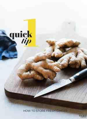 Fresh ginger on a cutting board.