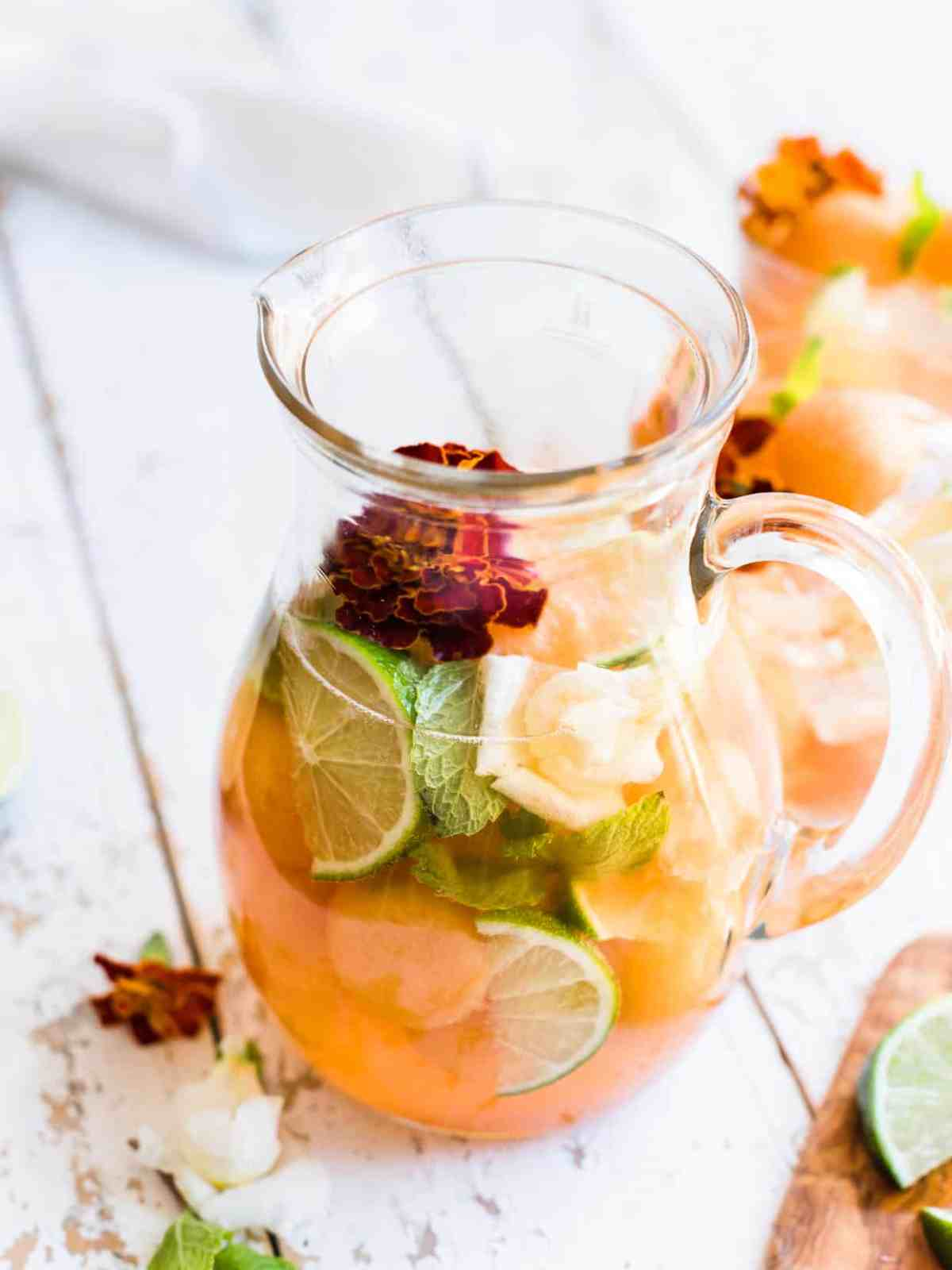 pitcher of Ginger Cantaloupe Sangria.