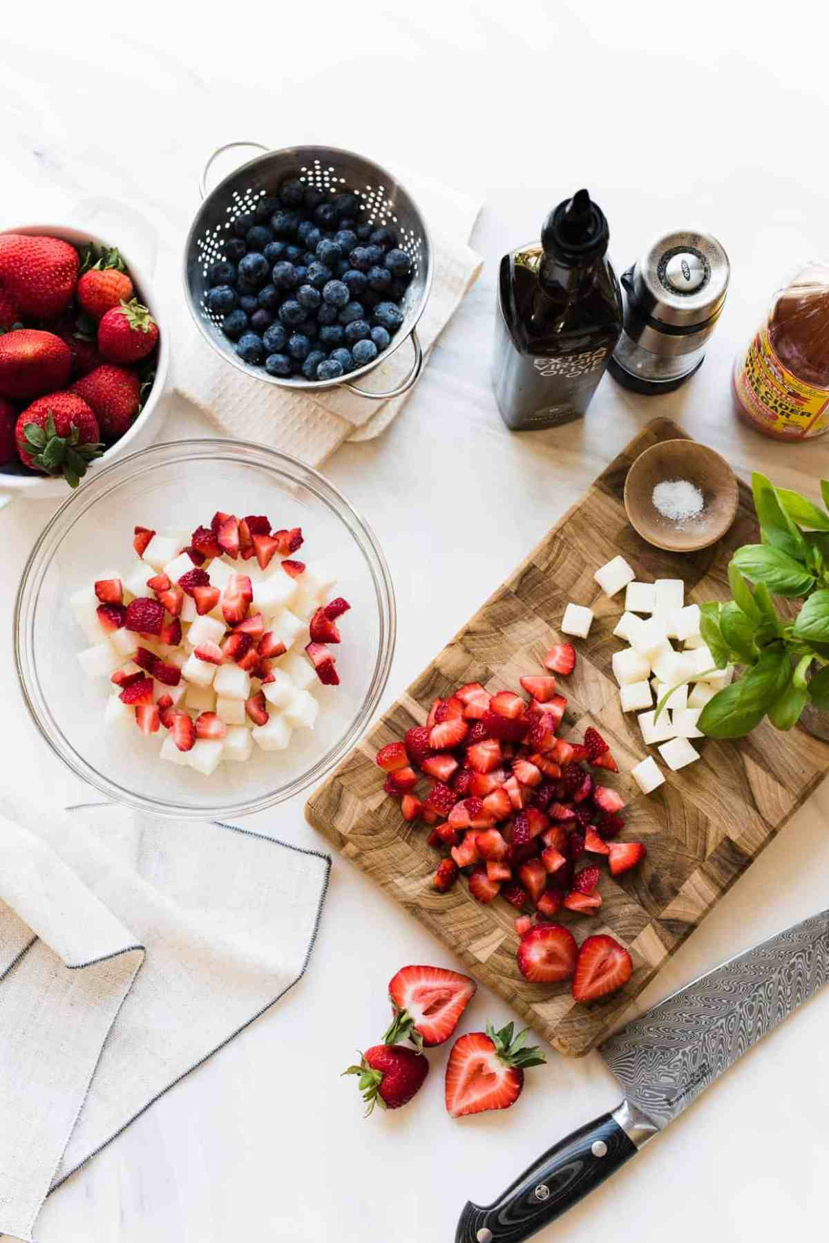 Ingredients for Red White and Blue Berry Jicama Salad.