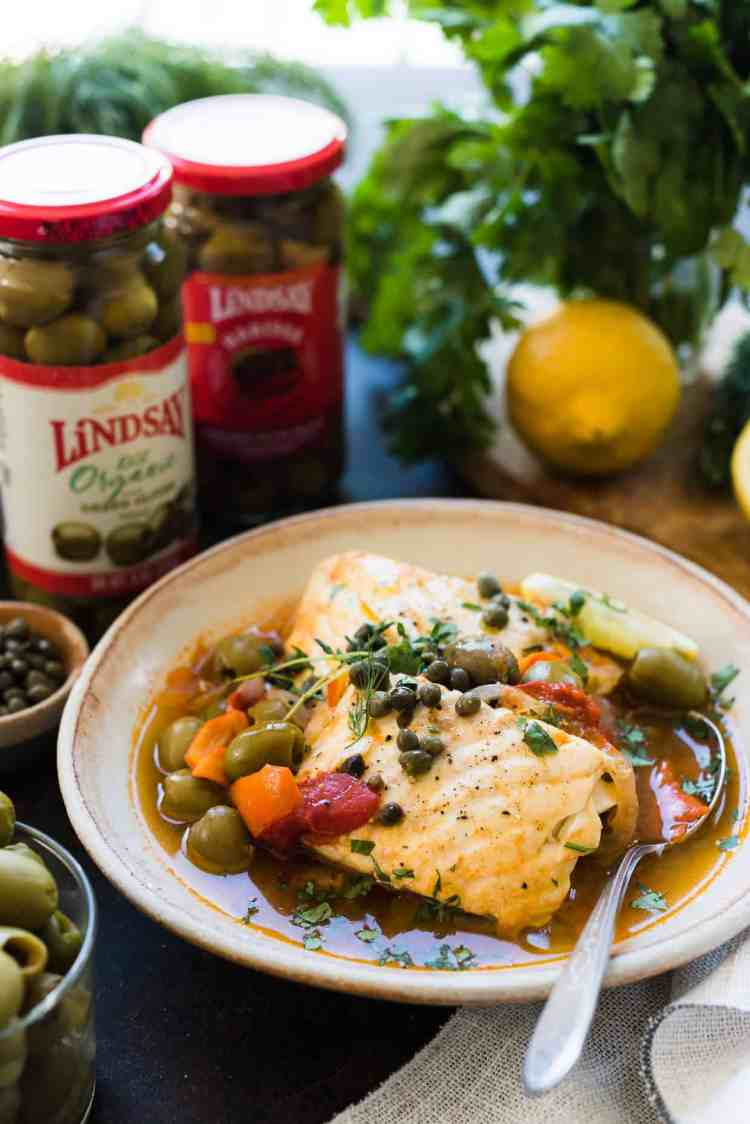 Instant Pot Fish Stew with Tomatoes, Olives and Capers made with Lindsay Olives Harissa Infused Blend Olives