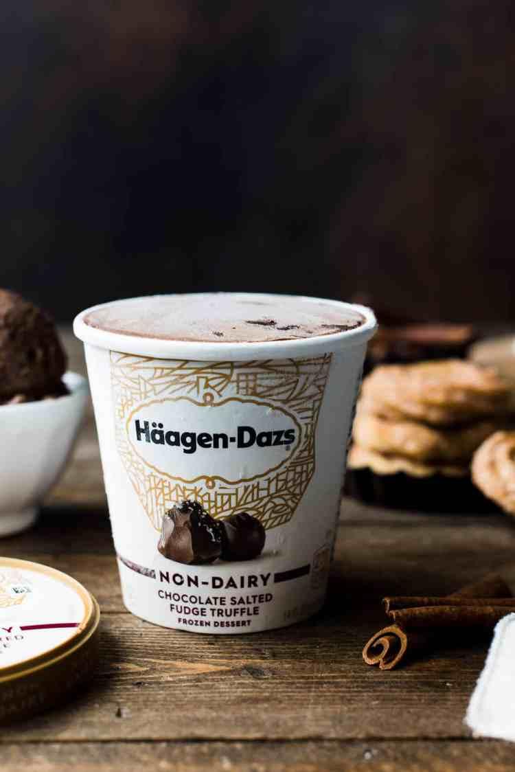 Häagen-Dazs Non-Dairy Chocolate Salted Fudge Truffle Ice Cream for Baked Churro Ice Cream Sandwiches.
