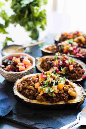 Stuffed Eggplant with Meat and Tahini and topped with Orange Pomegranate Salsa
