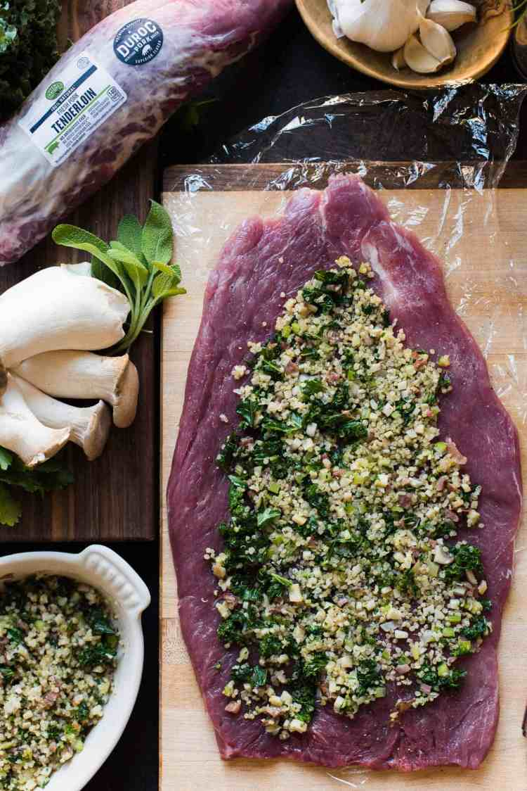Quinoa Stuffed Pork Tenderloin is easy to make and filled with is filled with a quinoa, mushrooms, and kale stuffing!