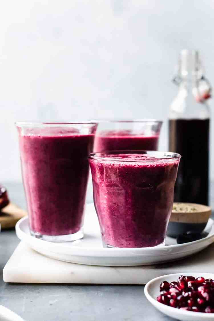 Glasses of Pomegranate Berry Smoothies.