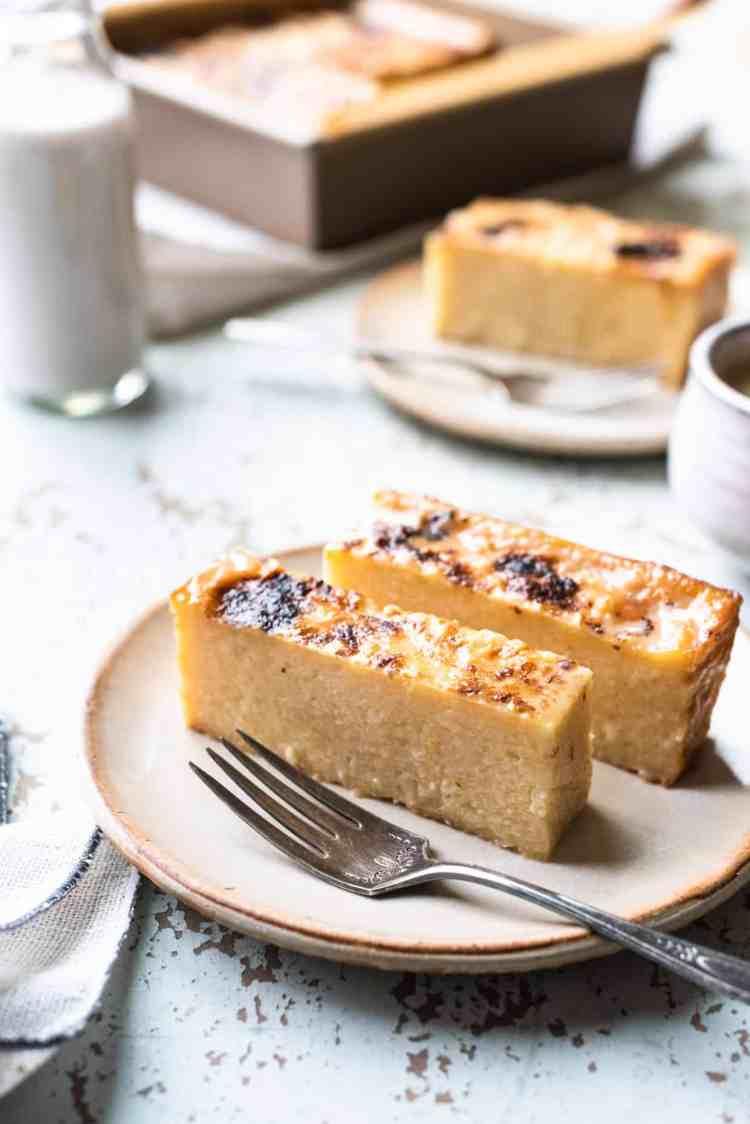 Thin slices of Cassava Cake on a dessert plate.
