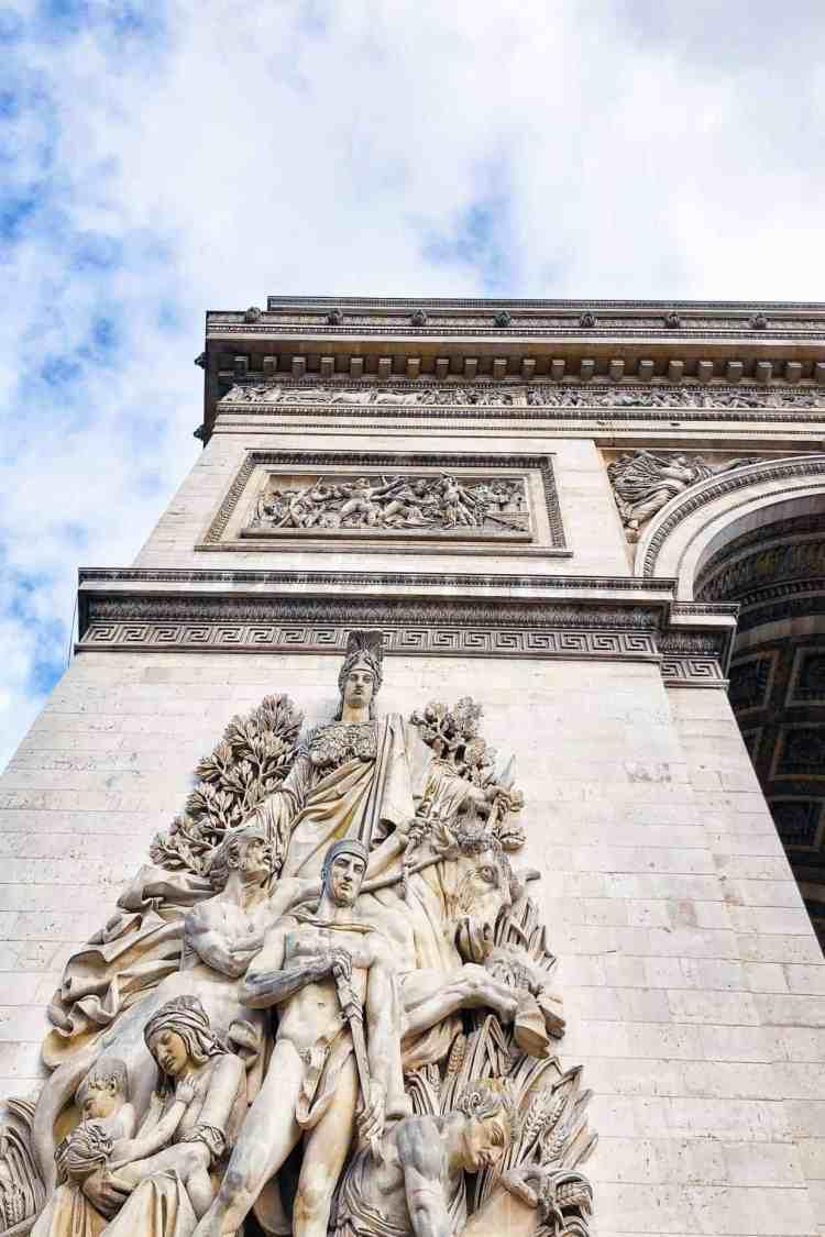 Detail of Arc de Triomph in Paris, France.