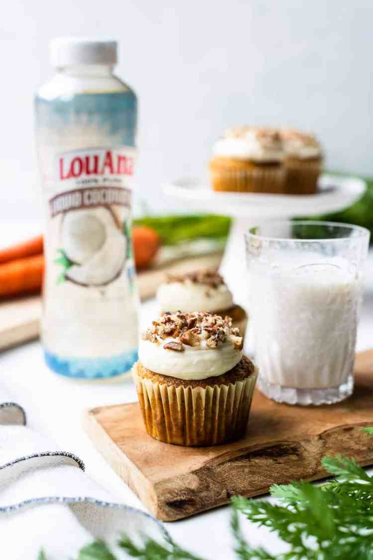 Carrot cake cupcakes made with LouAna Liquid Coconut Oil.
