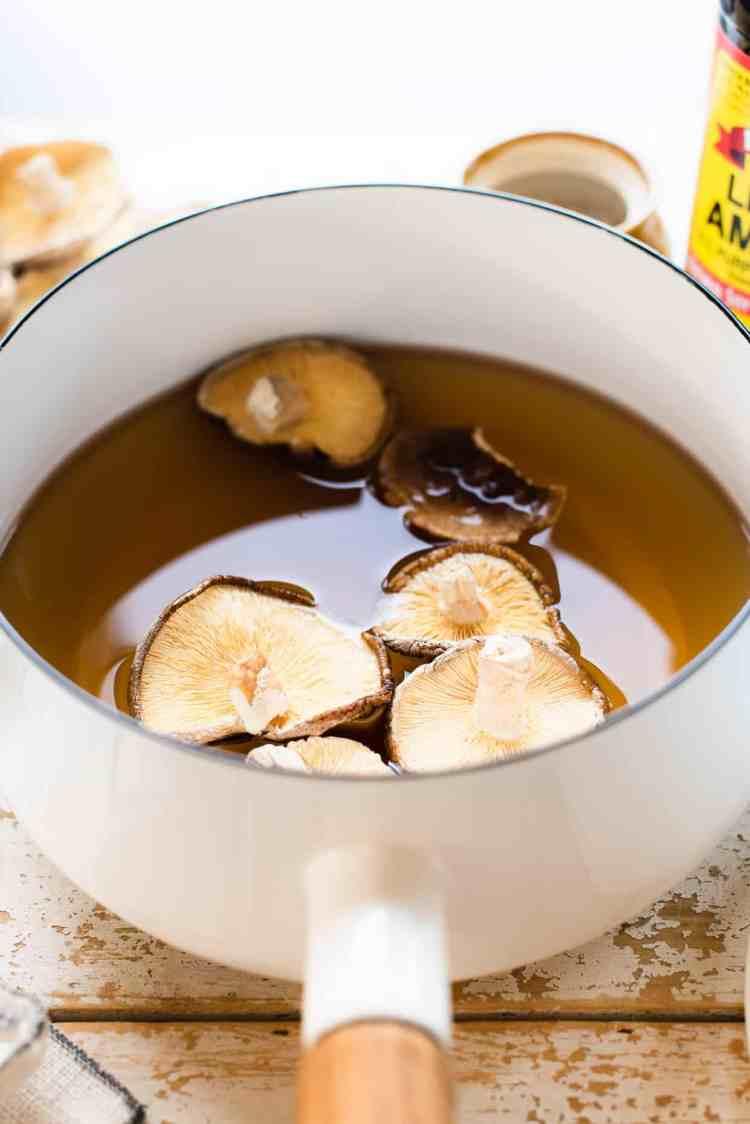 How to make vegan fish sauce with dried shiitake mushrooms.