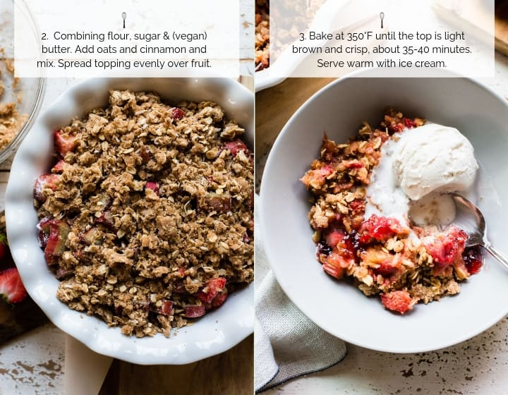 Step by step instructions for How to Make Strawberry Rhubarb Crisp.