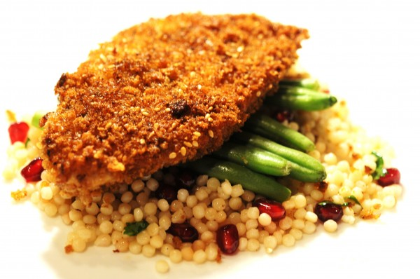 Za Atar Crusted Chicken With Pomegranate Cous Cous