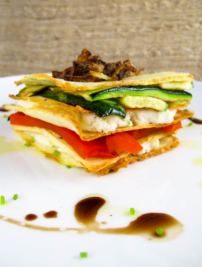 Potato Crisp, Roasted Vegetable, and Herbed Goat Cheese Napoleon Recipe