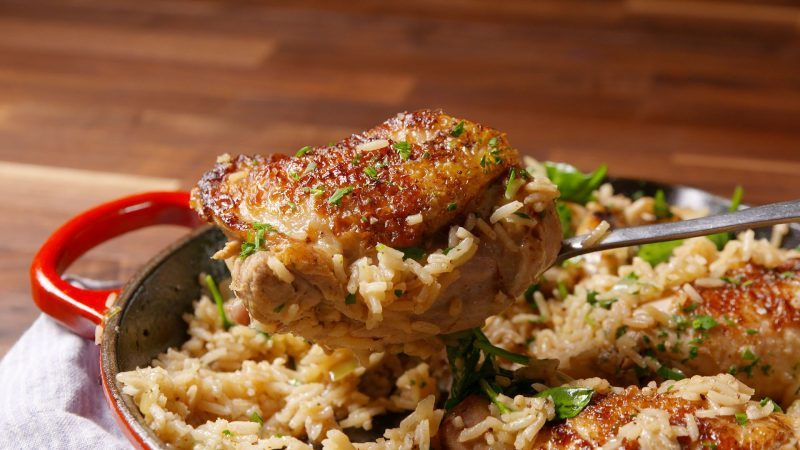 Nothing Beats Crispy Chicken Thighs With Rice