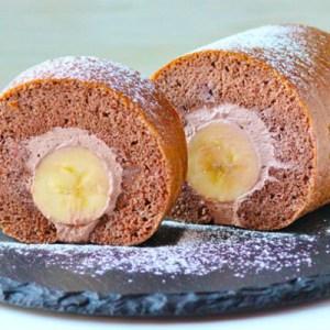 Chocolate Banana Swiss Roll Cake