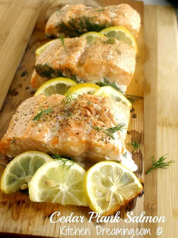 Cedar Plank Salmon a wonderful smokey lightly seasoned dish that is perfect for a date night meal.