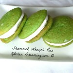 Shamrock Whoopie Pies include a light spearmint flavoring into the frosting sandwiched between vanilla cakes tinted green.