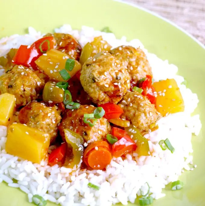 Sweet & Sour Meatballs on a bed of rice