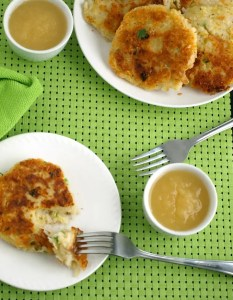 boxty - Irish Potato Pancakes on a plate with applesauce.