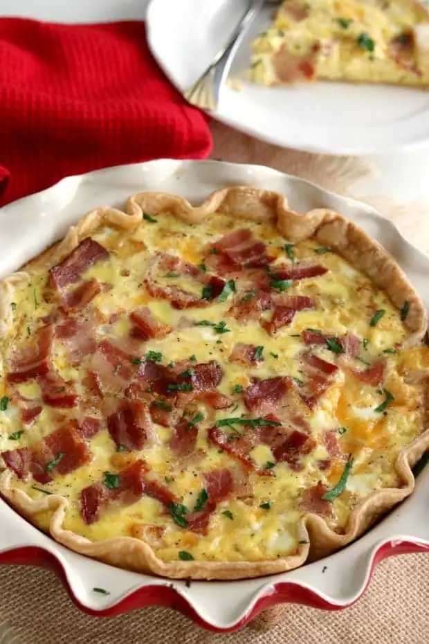 Quiche Lorraine may sound fancy but it really is a fancy name for Bacon Quiche.