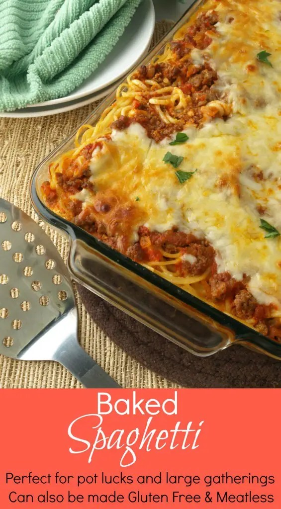 This Baked Spaghetti is super simple to make and takes much less effort than a traditional lasagna. It can also be made gluten free and meatless.