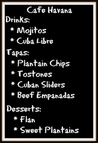 A menu board for a Cuban theme party.