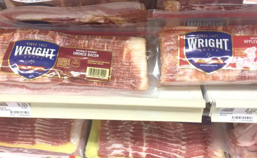 A supermarket display of Wright brand bacon.