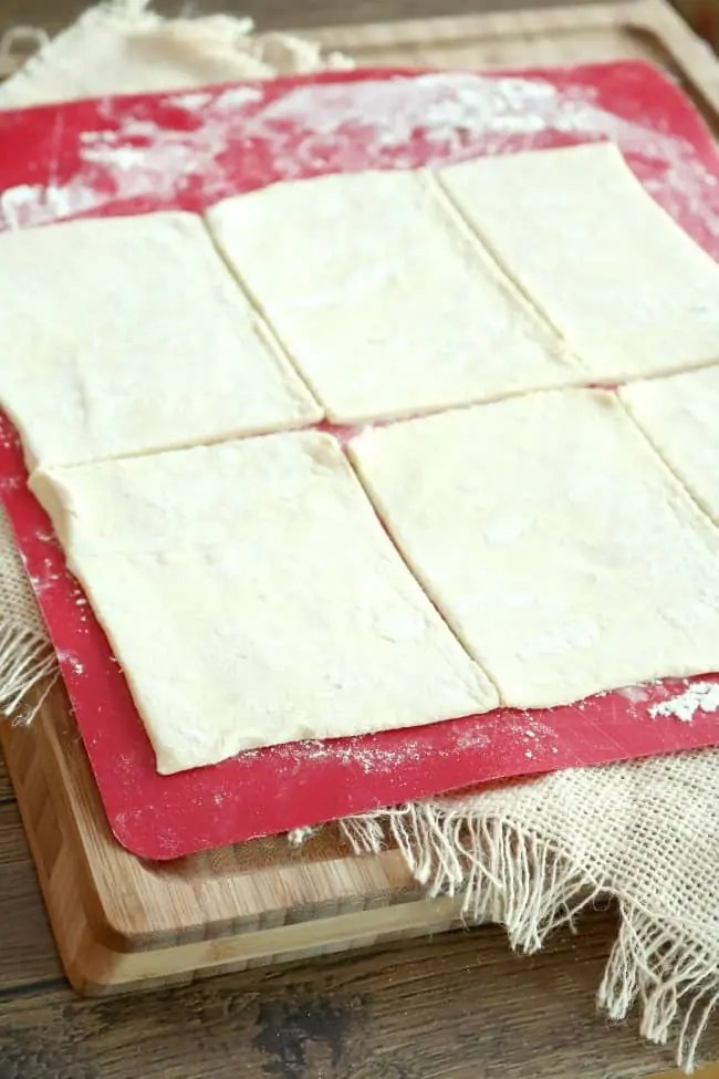 Puff pastry on a cutting board