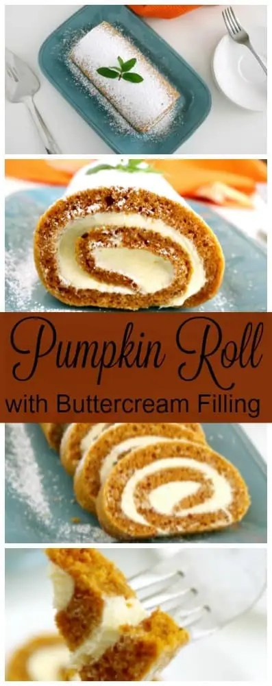 A pinterets pinnable image for pumkin roll cake.