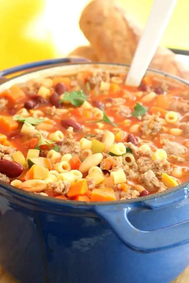 A full pot of Pasta e Fagioli soup.