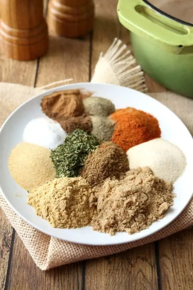 A plate of dry rub ingredients