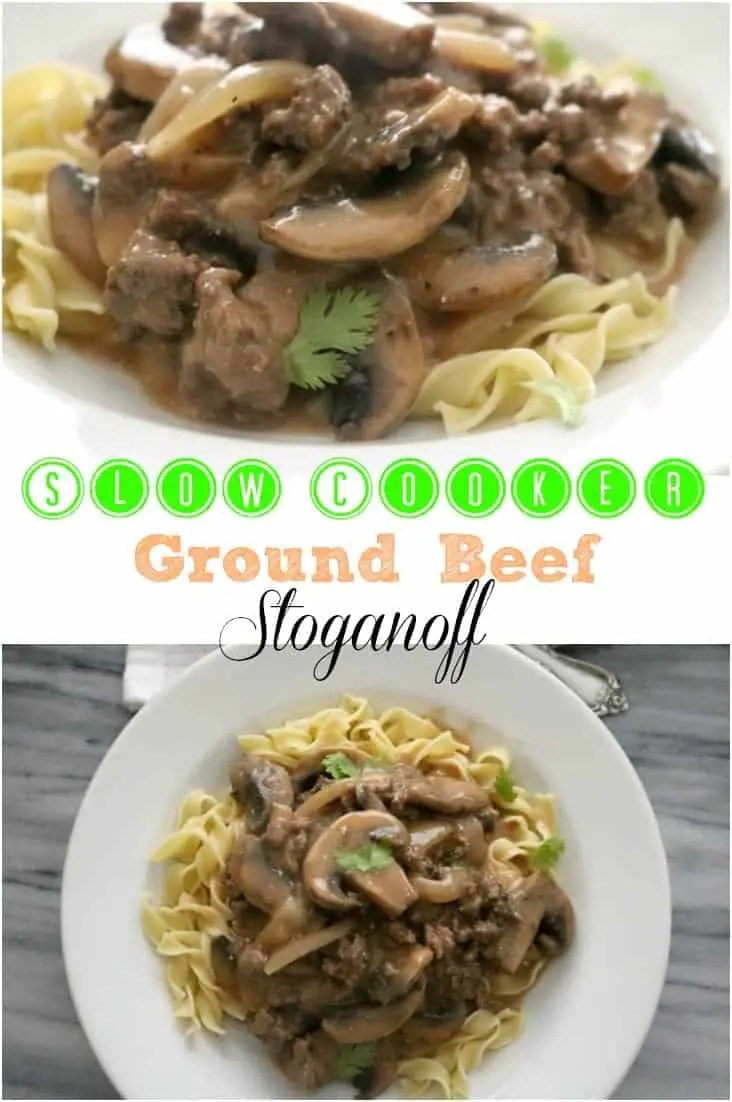Slow Cooker Ground Beef Stroganoff is an easy weeknight meal that's ready when you are & starts with simple ingredients already in the pantry.
