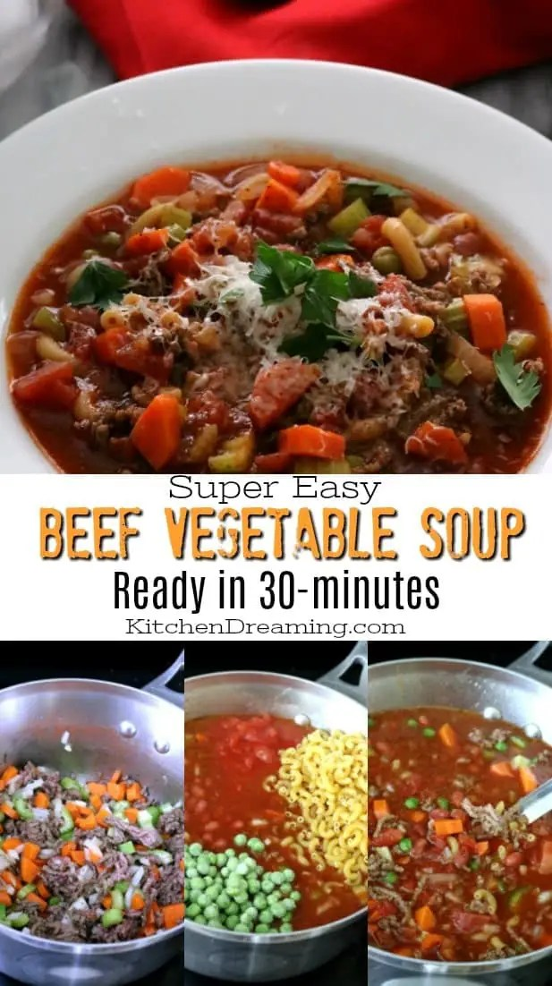 This hearty EasyBeefVegetableSoupis the ultimate comfort food. Ittastes like it was simmered on the stove for hours but is ready in just 30-minutes.Groundbeefis simmered with macaroni noodles, peas, carrots, onions, celery and beans in tomato-vegetablejuice cocktail to create this quick and easy soup.