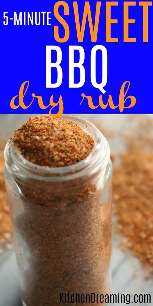 close up of a bottle of sweet bbq rub