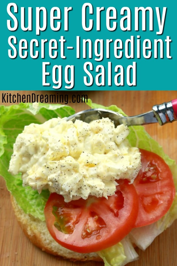 A pinnable pinterest image for super creamy restaurant style egg salad