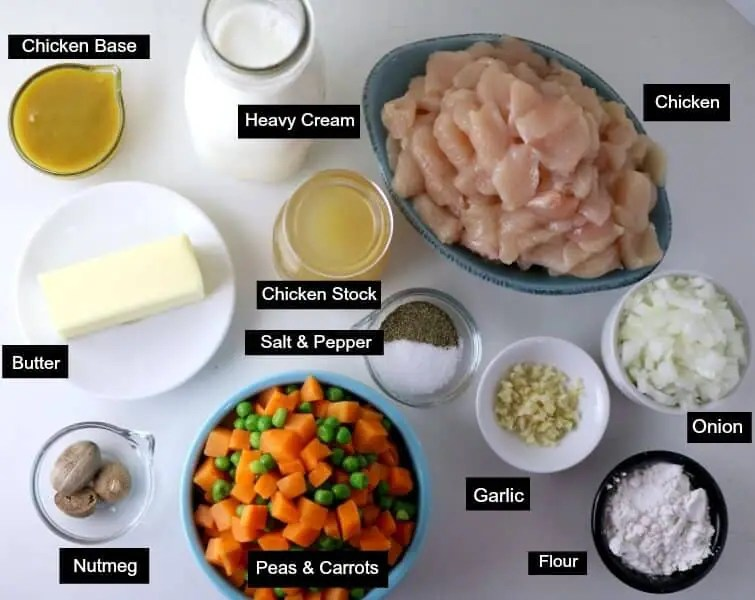 An overhead shot of the ingredients needed to make Chicken Pot Pie Soup.