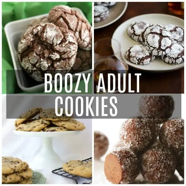 a collage of spiked boozy adult cookies including rum balls, snockerdoodles, chocolate krinkle, and chocolate chip.